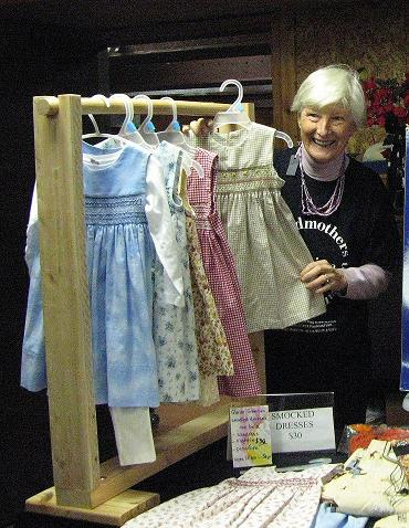 Lynn selling smocked dresses at Union Bay
